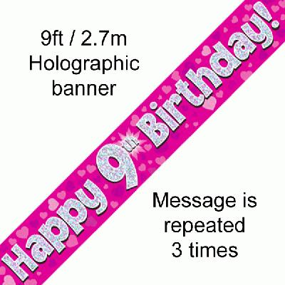 9th Birthday Pink - Banners & Bunting