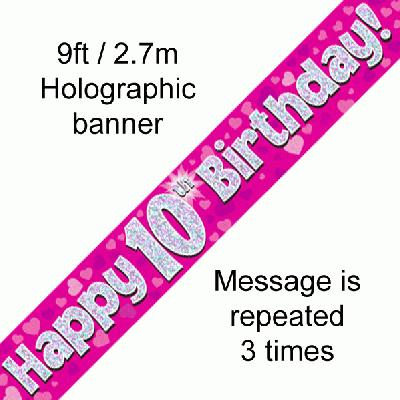 10th Birthday Pink - Banners & Bunting