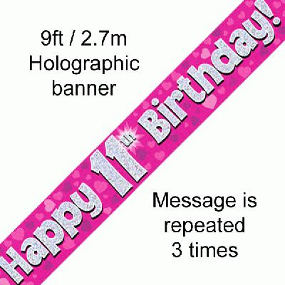 11th Birthday Pink - Banners & Bunting