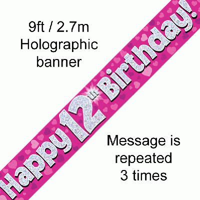 12th Birthday Pink - Banners & Bunting
