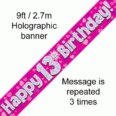 13th Birthday Pink - Banners & Bunting