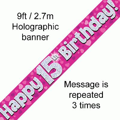 15th Birthday Pink - Banners & Bunting