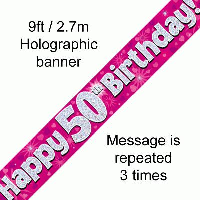 50th Birthday Pink - Banners & Bunting