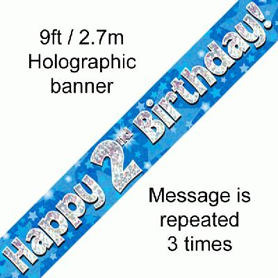 Happy 2nd Birthday Blue Holographic Foil Party Bunting 3.9m 11 Flags by Oaktree