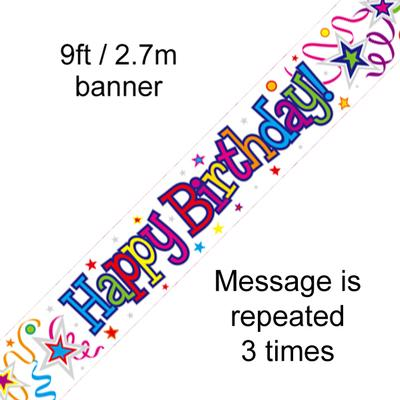 Happy Birthday Ribbons and Stars - Banners & Bunting