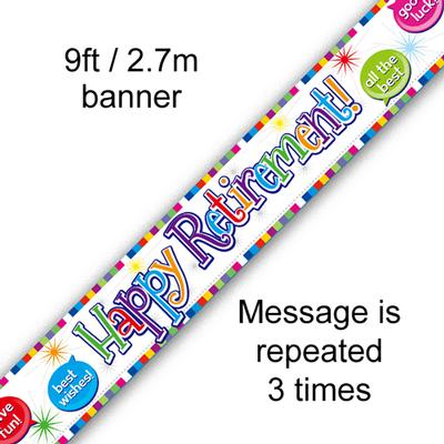 9ft Banner Happy Retirement - Banners & Bunting