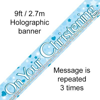 On Your Christening 9ft Holographic Banner - Banners & Bunting