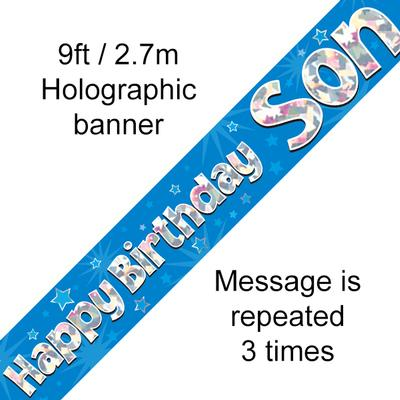 Happy Birthday Son Holographic 9ft Banner - Banners & Bunting
