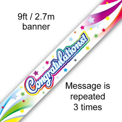 9ft Banner Congratulations Swirl - Banners & Bunting