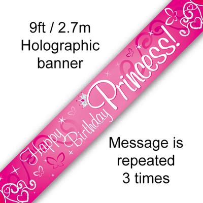 9ft Banner Happy Birthday Princess Holographic - Banners & Bunting