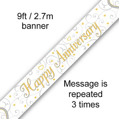 9ft Banner Happy Anniversary Linked Hearts - Banners & Bunting