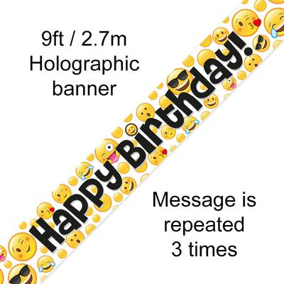 9ft Banner Emoji Birthday - Banners & Bunting
