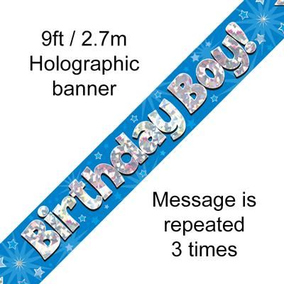 9ft Banner Birthday Boy Blue Holographic - Banners & Bunting