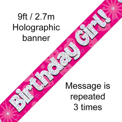 9ft Banner Birthday Girl Pink Holographic - Banners & Bunting