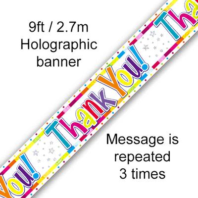 Bright Thank You Holographic - Banners & Bunting