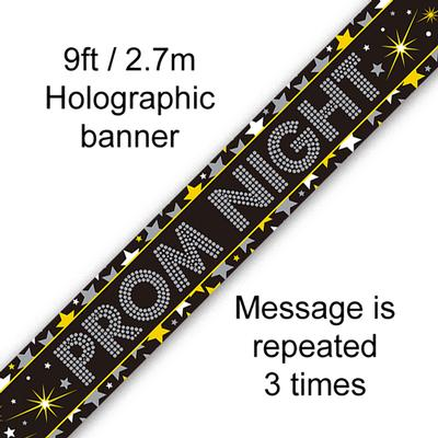 9ft Banner Prom Night Stars Holographic - Banners & Bunting