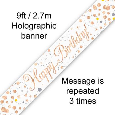 9ft Banner Sparkling Fizz Birthday White & Rose Gold Holographic - Banners & Bunting