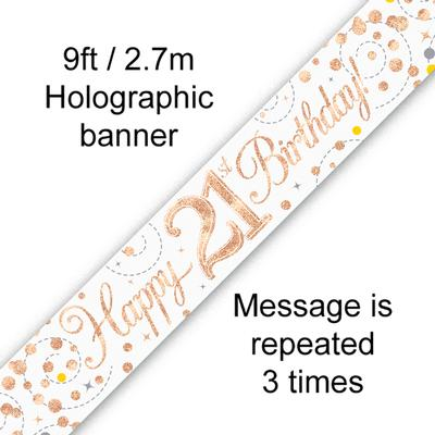 9ft Banner Sparkling Fizz 21st Birthday White & Rose Gold Holographic - Banners & Bunting