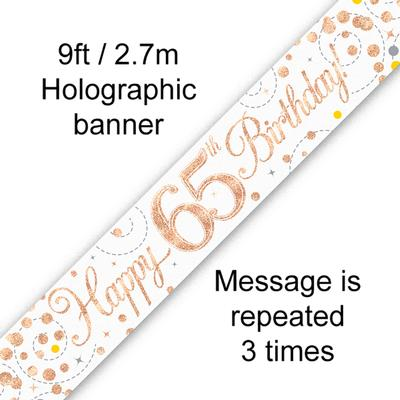 9ft Banner Sparkling Fizz 65th Birthday White & Rose Gold Holographic - Banners & Bunting