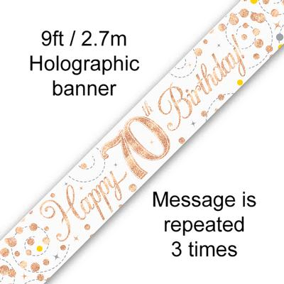 9ft Banner Sparkling Fizz 70th Birthday White & Rose Gold Holographic - Banners & Bunting