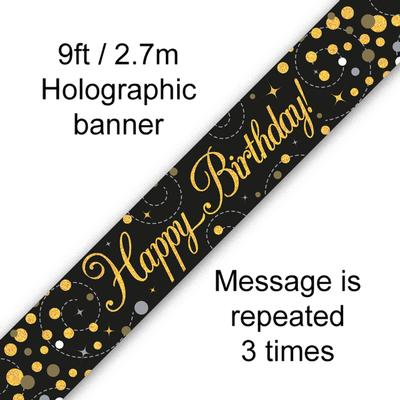9ft Banner Sparkling Fizz Happy Birthday Black & Gold Holographic - Banners & Bunting