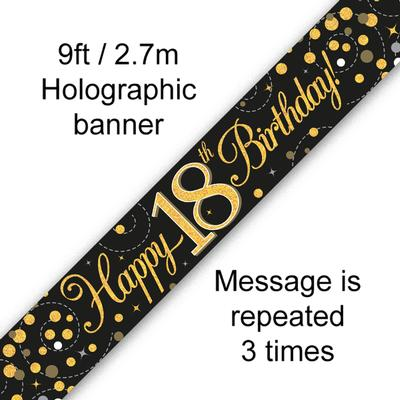 9ft Banner Sparkling Fizz 18th Birthday Black & Gold Holographic - Banners & Bunting