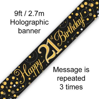 9ft Banner Sparkling Fizz 21st Birthday Black & Gold Holographic - Banners & Bunting