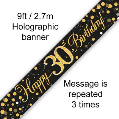 9ft Banner Sparkling Fizz 30th Birthday Black & Gold Holographic - Banners & Bunting