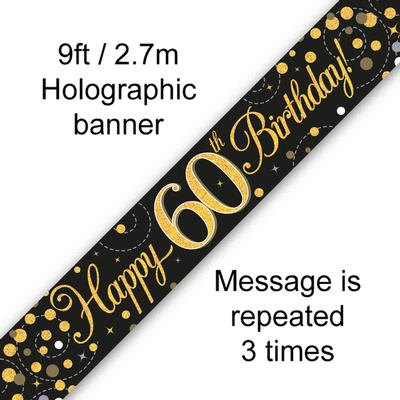 9ft Banner Sparkling Fizz 60th Birthday Black & Gold Holographic - Banners & Bunting