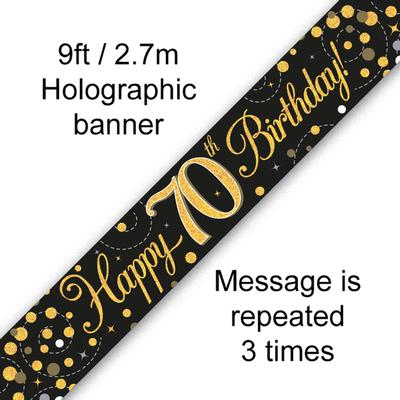 9ft Banner Sparkling Fizz 70th Birthday Black & Gold Holographic - Banners & Bunting