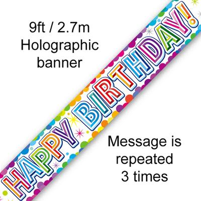 9ft Banner Colourful Confetti Birthday Metallic - Banners & Bunting