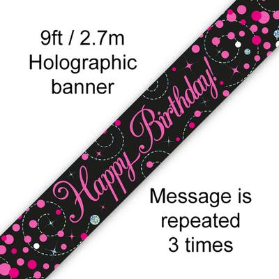 9ft Banner Sparkling Fizz Birthday Black & Pink Holographic - Banners & Bunting