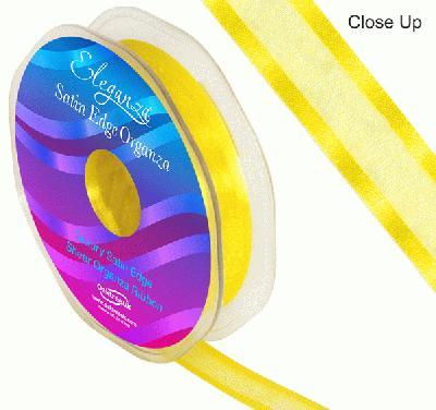 15mm Satin Edge Organza Ribbon Yellow - Ribbons