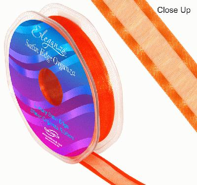 15mm Satin Edge Organza Ribbon Orange - Ribbons
