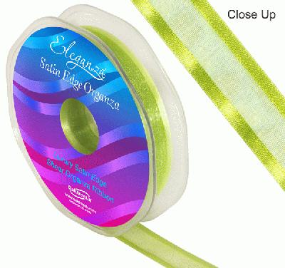 15mm Satin Edge Organza Ribbon Apple Green - Ribbons