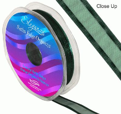 15mm Satin Edge Organza Ribbon Green - Ribbons