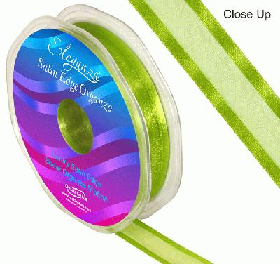 15mm Satin Edge Organza Ribbon Pistachio - Ribbons