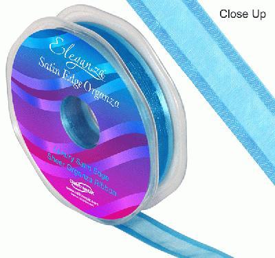 15mm Satin Edge Organza Ribbon Turquoise - Ribbons