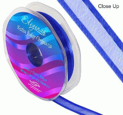 15mm Satin Edge Organza Ribbon Royal Blue - Ribbons