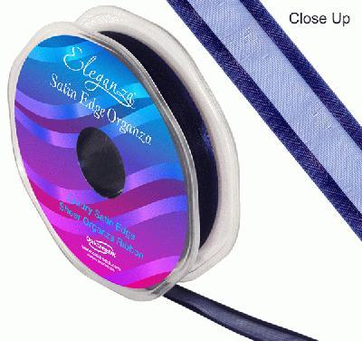 15mm Satin Edge Organza Ribbon Navy Blue - Ribbons