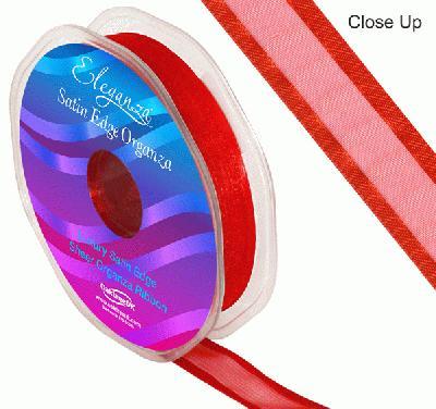 15mm Satin Edge Organza Ribbon Red - Ribbons