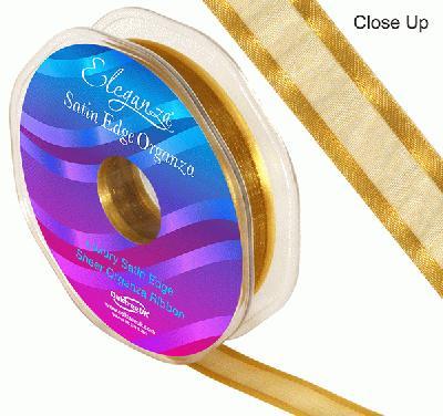 15mm Satin Edge Organza Ribbon Gold - Ribbons