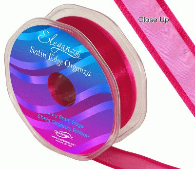 25mm Satin Edge Organza Ribbon Deep Cerise - Ribbons