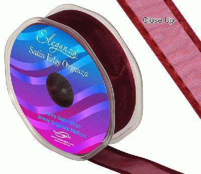 25mm Satin Edge Organza Ribbon Burgundy - Ribbons
