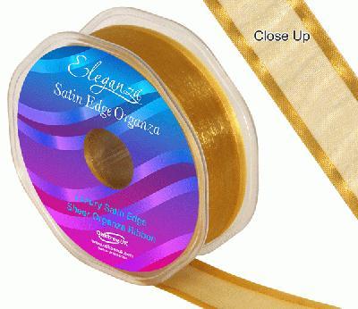 25mm Satin Edge Organza Ribbon Gold - Ribbons