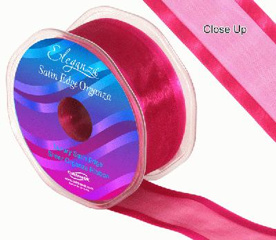 38mm Satin Edge Organza Ribbon Deep Cerise - Ribbons