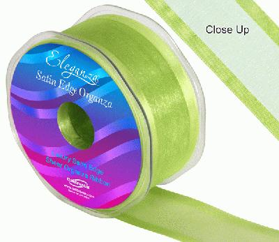 38mm Satin Edge Organza Ribbon Apple Green - Ribbons