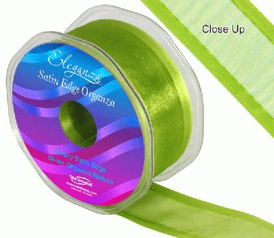 38mm Satin Edge Organza Ribbon Pistachio - Ribbons