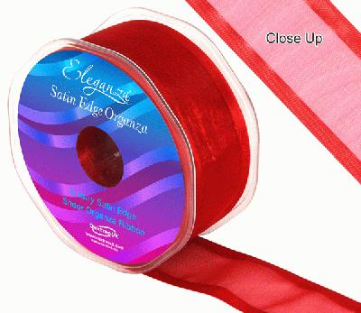 38mm Satin Edge Organza Ribbon Red - Ribbons