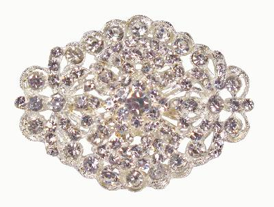 Diamanté Brooches - Large Vintage Oval Diamanté Encrusted 45 x 63mm 1pc - Accessories